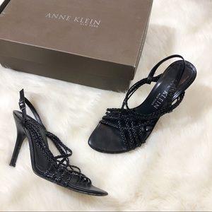 •Anne Klein Black Open Toe Heels•